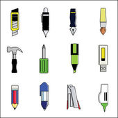 Tools and stationery vector include pen, pencil, cutter, paint brush — Stock Vector