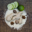 Stock Photo: An arrangement of Ayurvedic spice and a Lime