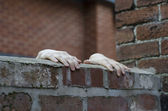 Someones hands gripping on to the top of a wall — Stock Photo