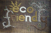 The Phrase Eco Friendl Written And Decorated In Seeds — Stock Photo