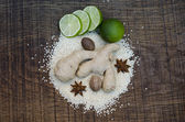 An arrangement of Ayurvedic spice and a Lime — Stock Photo