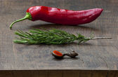 Fresh red pepper, sprig of rosemary, wooden measuring spoon of g — Stock Photo