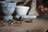 Cardamom being prepared for chocolat making — Stock Photo