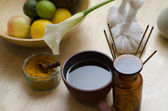 An arrangement of spice, oil and massaging tools used in Ayurved — Stock Photo