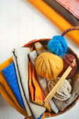 Basket for sewing and knitting — Stock Photo