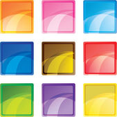 9 colored square buttons — Stock Vector
