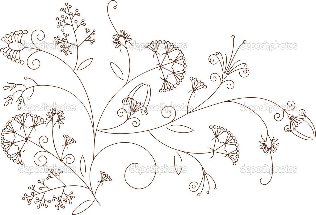 花卉图案,植物装饰 — 矢量图片作者 appelsina
