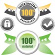 100% natural, satisfaction guaranteed, buttons lock and check — Stock Vector