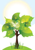 Tree with lush green foliage, sunny day, vector illustration — Stock Vector