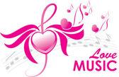 älskar musik, vektor illustration — Stockvektor