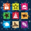 Royalty-Free Stock Vector: Set vector Christmas icon, seamless background