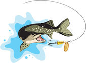 Pike and lure fishing, vector illustration — Stock Vector
