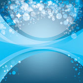 Abstracte blauwe achtergrond, vakantie sjabloon met glanzende sterren — Stockvector