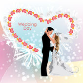 Wedding day, bride and groom — Stock Vector