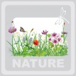 Green grass and flowers, landscape natural, banner in vector art — Stock Vector #18803919