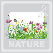 Green grass and flowers, landscape natural, banner in vector art — Stock Vector