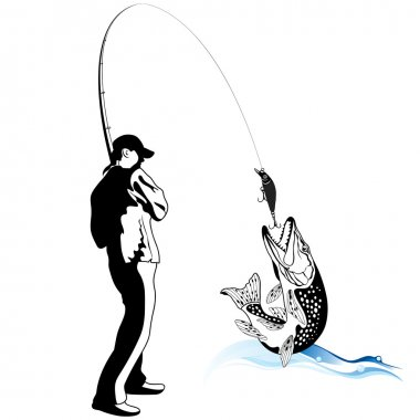 Fisherman caught a pike, vector illustration