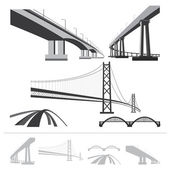 Set of bridges, vector silhouette collection isolated on white b — Stock Vector
