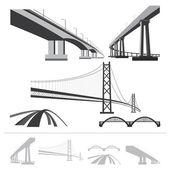 Ensemble de ponts, collection de silhouette vecteur isolée sur blanc b — Vecteur