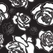 Seamless pattern, white roses on a black background — Stock Vector