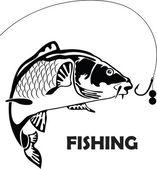 Karpfen fischen, vektor-illustration — Stockvektor