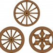 Old wooden wheels — Stock Vector