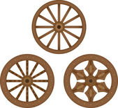 Old wooden wheels — Stockvector