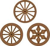 Old wooden wheels — Stock Vector