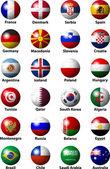 Pelota de balonmano con banderas — Vector de stock