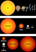 Planets and stars size in relation — Stock Vector
