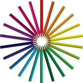 Crayons in a circle — Vector de stock