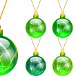 Decorations for Christmas tree green — Stock Vector