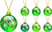 Dekoration für den Weihnachtsbaum-grün — Stockvektor