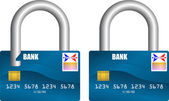 Bank card unlocked and locked — Stockvektor
