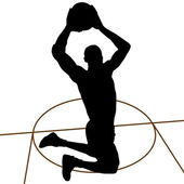 Basketball player silhouette — Stock Vector
