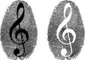 Fingerprint with music symbol — Stock Vector