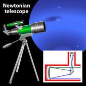 Newtonian telescope — Stock Vector