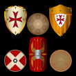 Shields from Middle Ages black — Stock Vector #35989135