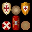 Shields from the Middle Ages black — Stock Vector