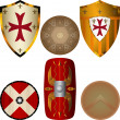 Shields from the Middle Ages — Stock Vector