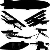 Silhouettes of weapons from World War I (Great War) — Stock Vector