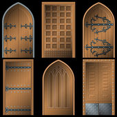 Door to the Middle Ages on a black background — Stock Vector