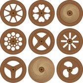 Wooden wheels — Stock Vector