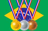 Medalhas de futebol, Brasil — Vetor de Stock