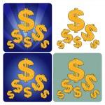 Golden Dollars — Stock Vector