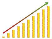Gold Coin Graph — Stock Vector