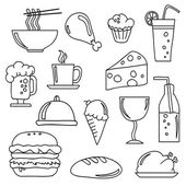 Food and Beverage Doodles — Stock Vector