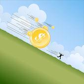 Money Landslide — Stock Vector