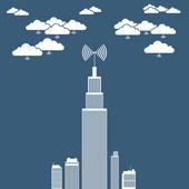 Corporation Cloud Network — Stock Vector