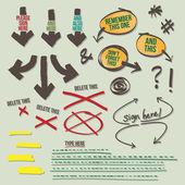 Sign Document Reminder Design Elements — Stock Vector